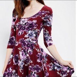 UO Sparkle & Fade 3/4-Sleeve Knit Skater Dress